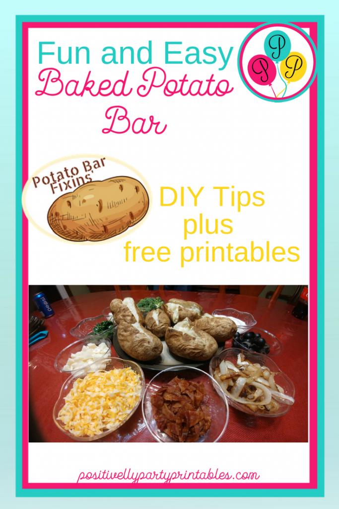 Baked Potato Bar tips and printables