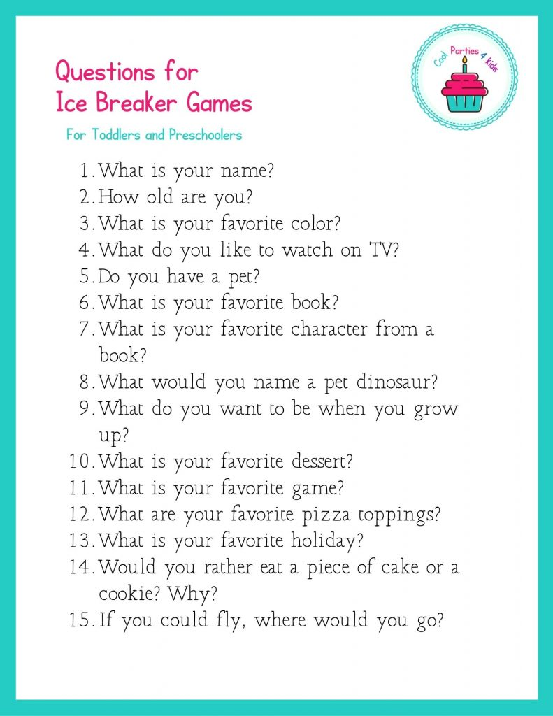 Questions for Ice Breaker Games for Children's Parties