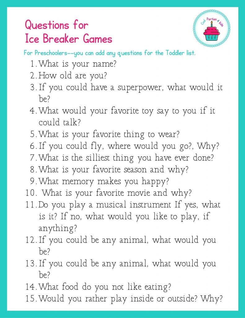 Ice Breaker Questions for Preschoolers