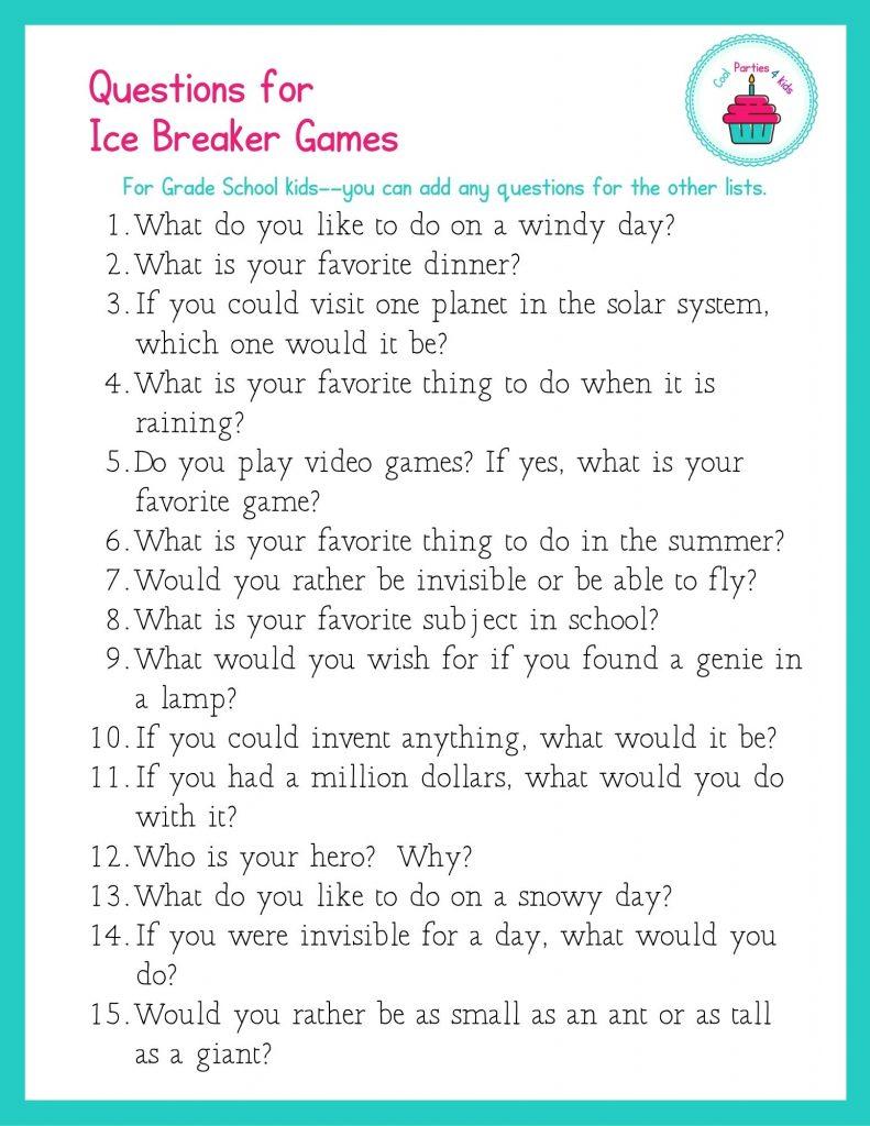 Ice breaker questions for grade school kids